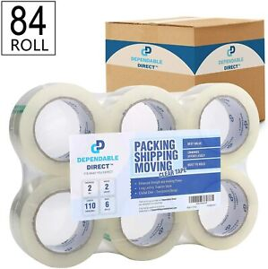 Industrial Grade Clear Packing Tape Heavy Duty 84 Rolls 110 Yards Per Roll