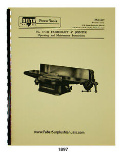 Delta Homecraft 4 Jointer Operating Maintenance Parts List Manual 1897