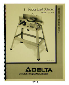 Delta 6 Jointer Model 37 285 Instruction Parts List Manual 2017