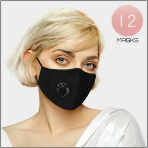 12 Pack Protective Face Mask Black With Valve Reusable Washable Protection Cover