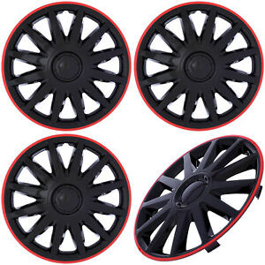 4 Pc Set Of 14 Inch Ice Black Red Trim Hub Caps Rim Cover For Steel Wheel Cap