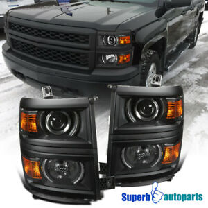 For 2014 2015 Chevy Silverado 1500 Projector Headlights Signal Black Cover Trim