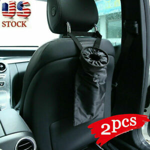 2x Portable Car Trash Bag Can Litter Garbage Keeper Back Seat Headrest Organizer