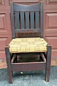 Vintage Gustav Stickley V Back Chair Arts Crafts Mission