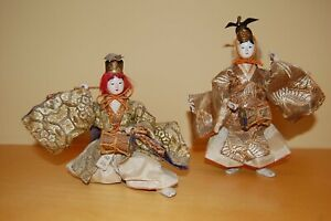 Antique Two Japanese Hina Musician Dolls