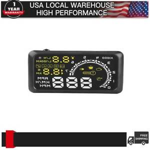 Car Hud Head Up Display Obd2 Speedometer Slope Projector Speed Compass Warning