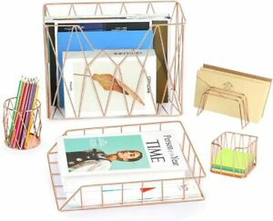 5pc Desk Organizer Set mail Sorter Sticky Note Pen Magazine Holder Letter Tray