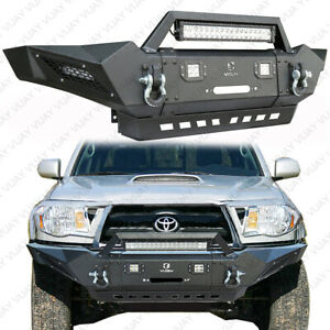 Vijay Front Bumper With Winch Plate And Led Lights For 2005 2015 Tacoma