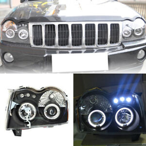 For Jeep Grand Cherokee 2005 08 2pcs Headlights Assembly Retrofit Halo Projector