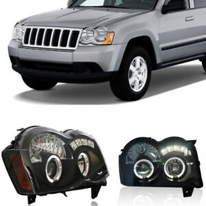 For Jeep Grand Cherokee 2008 2010 Headlights Assembly Retrofit Halo Projector
