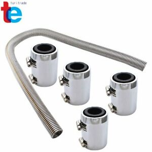 Universal 48 Stainless Steel Radiator Flexible Coolant Water Hose With Caps Kit