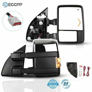 Tow Mirrors Fits 99 07 Ford F250 Chrome Power Heated Clearance Arrow Lamp Signal