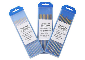 10pcs set Gold Lanthanum Tungsten Electrode Wl15 Tig Welding Rod 1 0 4 0x150mm