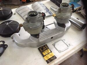 Edelbrock Chevy 216 235 261 Inline Straight 6 Dual Carb Intake Set Up With Carbs