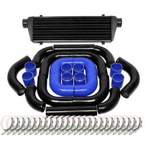 Universal 2 5 12pc Black Intercooler Piping Kit Blue Couplers t bolt Clamps