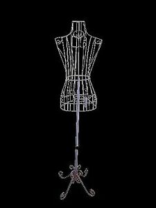 Female White Steel Wire Mannequin Dress Form 32 22 32 On Decorative Stand 0004