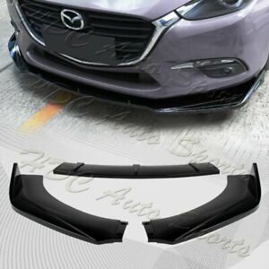 Universal Painted Blk Front Bumper Protector Body Kit Splitter Spoiler Lip 3pcs