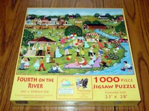 SunsOut Fourth on the River Sheila Lee 1000 Piece Jigsaw Puzzle Complete $13.19