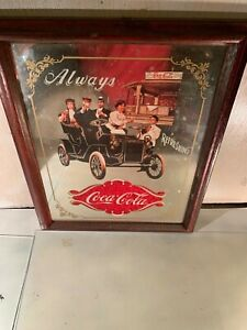 Coca Cola Vintage Style Mirror  Always Refreshing  Antique Car 1994 .