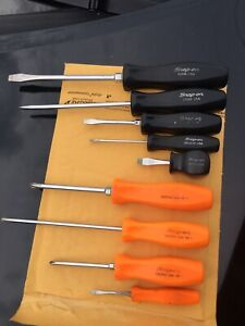 Snap On Used Tools Lot Of 9 Pieces Screwdrivers Standard Phillips Var Lengths