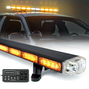 Xprite 48 Inch Rooftop 86 Led Strobe Light Bar Emergency Warning Amber yellow