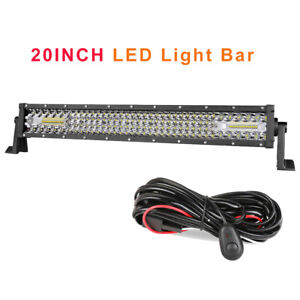 20 inch Led Work Light Bar Spot Flood Combo Driving 6000k 3row 4row W wiring Kit