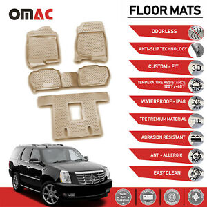 Floor Mats Liner 3d Molded Tan 5 Pcs For Cadillac Escalade 2007 2014
