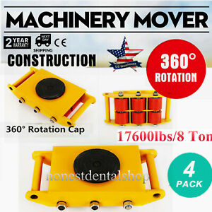 4pcs set Machine Dolly Skate Machinery Roller Mover Cargo Trolley 17600lbs 8 Ton