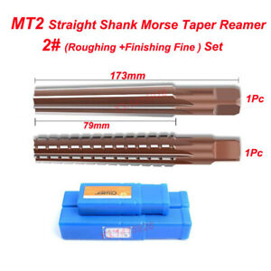 Mt2 No 2 Straight Shank Morse Taper Reamer Set Roughing Finishing Fine New
