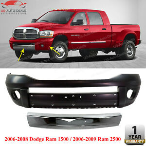Front Bumper Cover Chrome Molding For 2006 2009 Dodge Ram 1500 2500 3500