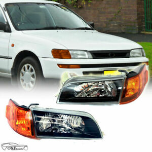 For 1993 1997 Toyota Corolla Jdm Black Headlights Left And Right Headlamps Set