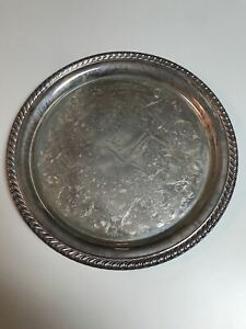 W M Rogers 870 Silver Plated Round Serving Tray 10 25 Ff