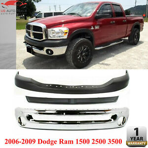 Front Bumper Chrome Filler Textured Up Cover For 06 09 Dodge Ram 1500 2500 3500