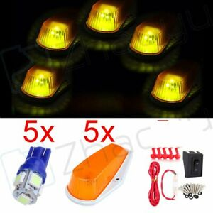 5x Amber Cover Cab Marker Top Lights T10 5050 Us Fast Led wiring Kit For Truck
