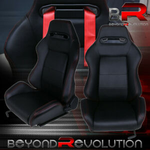 Universal Type r Racing Bucket Seats Black Cloth Red Stitching Fully Reclinable