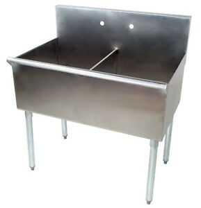 36 2 Compartment 18 X 21 X14 Stainless Steel Commercial Utility Prep Sink