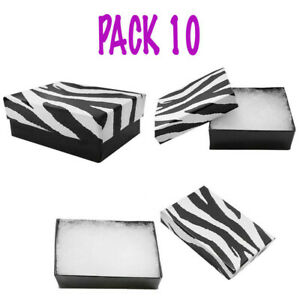 3 1 2 X 3 1 2 X 1 Cardboard Gift Boxes Jewelry Zebra Print Cotton Filled pack 10