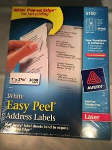 Avery 5160 Easy Peel Address Labels White 1x2 5 8 3 000 Count Free Ship 3427