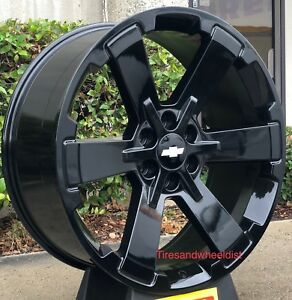 24 Chevy Silverado Tahoe Wheels With Tires Gmc Yukon Sierra Gloss Black Rims