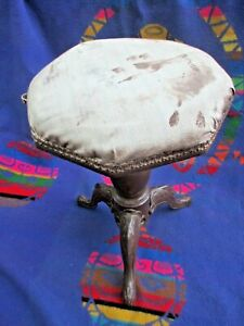 Antique Victorian Cast Iron Wood Adjustable Screw Post Piano Stool Bench As Is