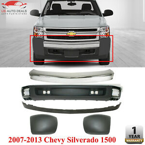 Front Bumper Chrome Ends Valance W Extension For 2007 13 Chevy Silverado 1500