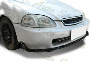 For 96 98 Honda Civic Jdm Cs Style Painted Black Front Bumper Body Lip Kit 3pcs
