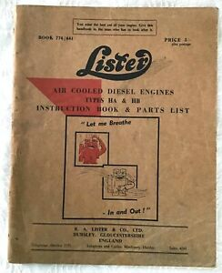 1961 Lister Air Cooled Diesel Engines Ha Hb Instruction Book Parts List