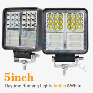 2x 5inch Amber 380w Led Work Lights Square Cube Driving Fog Lamps Drl Reverse 4