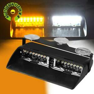 16 Led White Amber Strobe Flash Light Dash Car Emergency Warning Lamp 12v