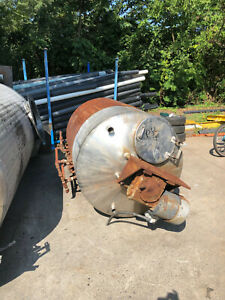 Stainless Steel Tank 600 Gallon Jacketed With 2 Blade Mixer motor gear Box Used