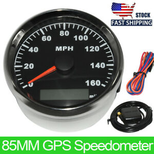 85mm 0 160mph Black Gps Speedometer Gauge For Car Truck Boat Motorcycle Us Stock