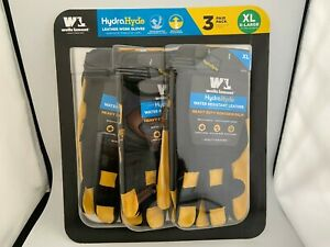 3pk Wells Lamont Hydrahyde Water Resistant Breathable Leather Work Gloves xl