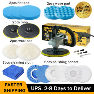 Electric Car Polisher Variable 6 Speed 7 Buffer Sander W Waxing Bonnet Pad Us