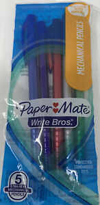 Paper Mate Write Bros Mechanical Pencils 0 7mm Hb 2 Assorted Colors 5 Count